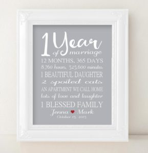prints by christine inc personalized gifts one year wedding