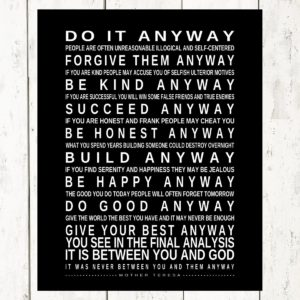 Prints by christine inc personalized gifts do it anyway mother do it anyway inspirational quotepoem by mother teresa great office decor going away gift graduation gift mounted poster ready to hang thecheapjerseys Choice Image