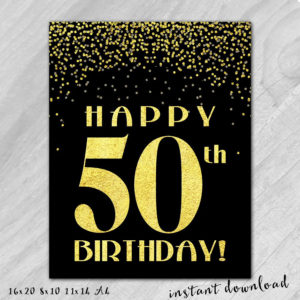 graphic relating to 50th Birthday Signs Printable called Prints Through Christine, Inc. Custom-made Presents - 50th Birthday